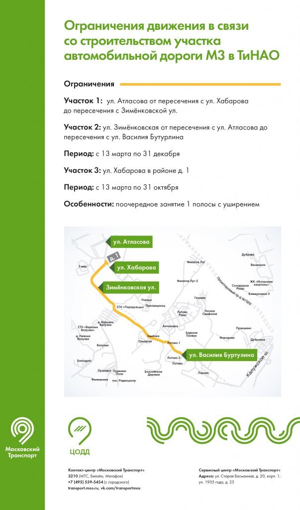 Движение на участках двух улиц в ТиНАО ограничили по 31 декабря