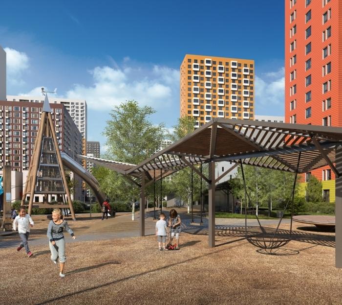Детская площадка в стиле оригами с холмами и ручьем появится в ТиНАО