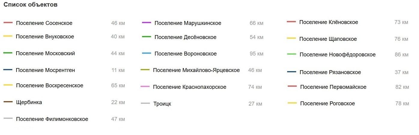 Карта «новой Москвы»