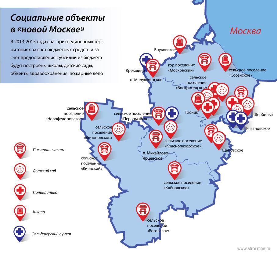 """Карта - Строительство новых социальных объектов в """"Нвой Москве"""""""
