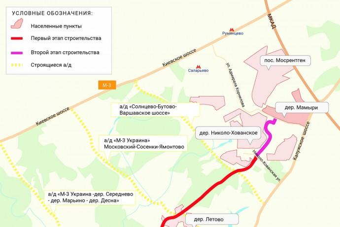 Строительство первой очереди автодороги «Мамыри - Пенино - Шарапово» началось в ТиНАО